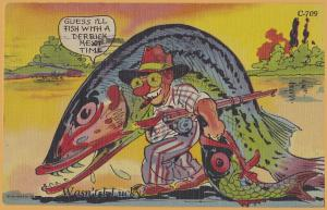 Comic-Guess I'll fish with a derrick next time Man with giant Fish-1949