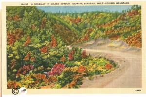 Broadway in Golden Autumn Showing Beautiful Multi Colored Mountains Postcard