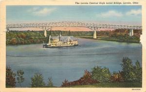Lorain Harbor Ohio~Steamboat Passes Central High Level Bridge~1940 Postcard