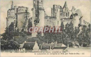 Old Postcard Chateau de Pierrefonds in ruins built the restoration was in ent...