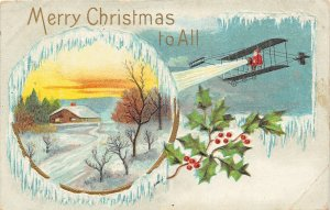 F99/ Santa Claus Christmas Postcard c1910 Biplane Pilot Airplane Snow 12
