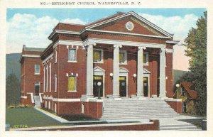 Methodist Church, Waynesville, North Carolina ca 1920s Vintage Postcard