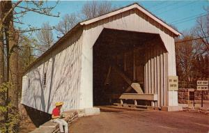 Hunterdon County NJ~Green Sergeant's Covered Bridge @ Wickecheoke Creek~1950s PC