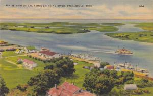 Ships Near the Shore, Aerial View of the Famous Singing River, Pascagoula, Mi...