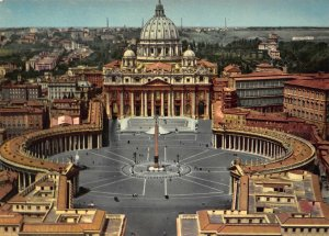 Italy Roma St Peter's Square Basilica Panorama Postcard