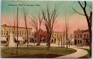 Baraboo, Wisconsin Postcard Downtown Street / Park View w/ 1912 Cancel