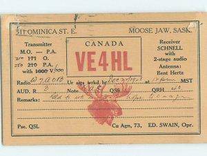 1920s RADIO CARD - CB HAM OR QSL Moose Jaw Saskatchewan SK AH3135