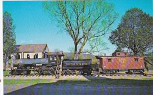 Trains Boston & Maine Old Steam Engine and Caboose In White River Junction