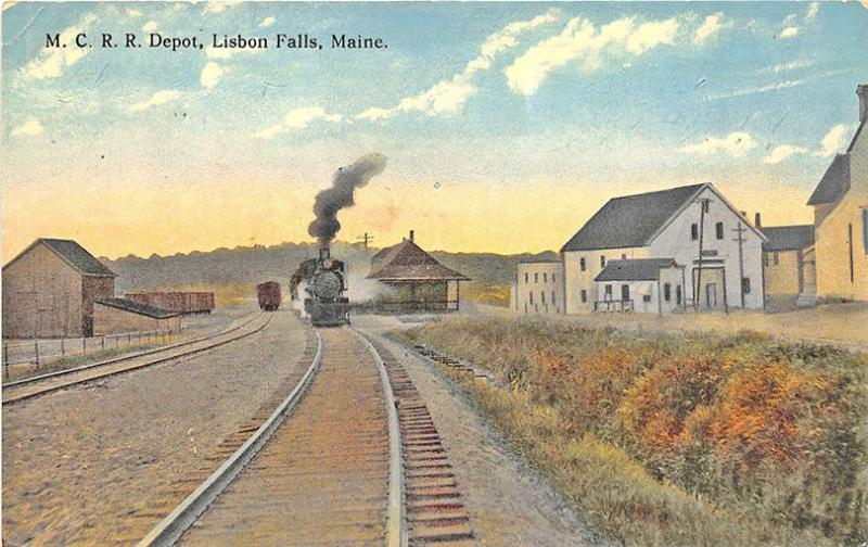 Lisbon Falls ME Central Railroad Station Train Depot Postcard