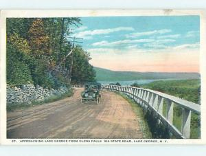 W-Border OLD CAR ON STATE ROAD Glens Falls - Lake George New York NY HM8787