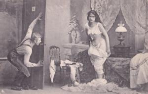 German Peeping Tom Risque Adult Antique Postcard