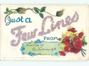 Pre-Linen JUST A FEW LINES - IN BIG FLOWER LETTERS AC4104