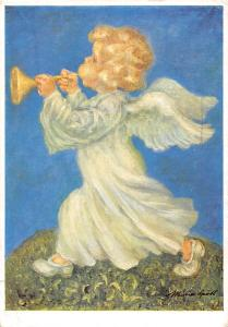 Angel play trumpet, fantasy, paint, Signed, Maria Spoetl VMS Made in Austria
