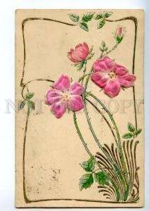 139975 ART NOUVEAU Greeting SILK Flowers vintage RARE PC