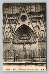 Paris France Notre Dame Portail lateral Nord Vintage Postcard