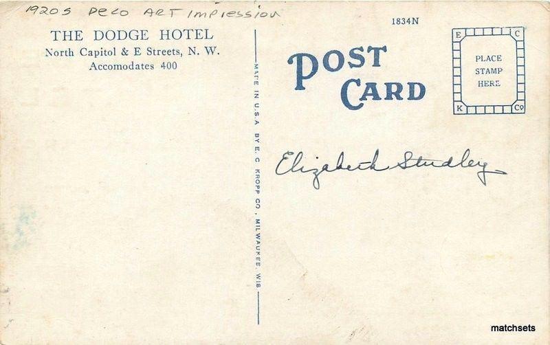 1920s Deco Art Impression Dodge Hotel Washington DC Kropp postcard 3910