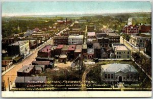 1908 FREMONT, Nebraska Postcard BUSINESS SECTION View from Waterworks Chimney