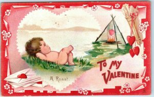 1910s Tuck's VALENTINE'S DAY Postcard A ROAST Cupid Burning Heart Over Open Fire