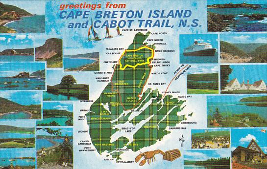 Canada Multi View and Map of Cape Breton Island and Cabot Trail Nova
