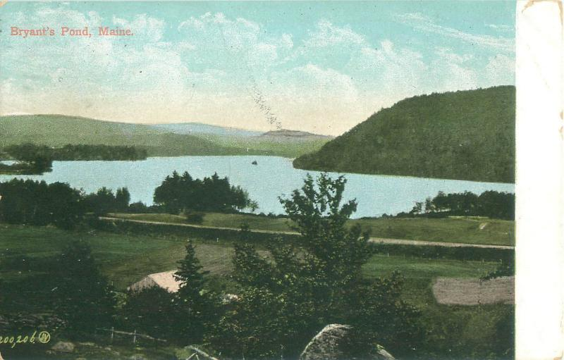 Bryant  Pond; Woodstock Maine House in Foreground 1908 Postcard
