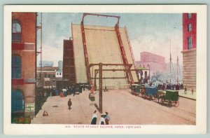 Chicago IL~Office Bldg~State St~Draw Bridge Pulled Up~Horse Drawn Buggies~c1910
