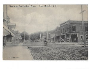 Main Street East from Depot Street Hotel Kingston Sign Canaseraga New York