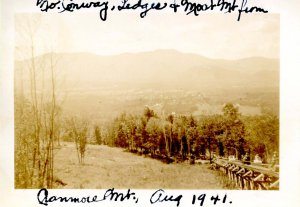 NH - North Conway. Mt Cranmore Skimobile, 1941. View of village & mountains