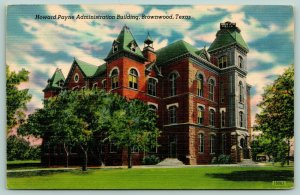 Brownwood Texas~Howard Payne College~Administration Building~1940s Linen