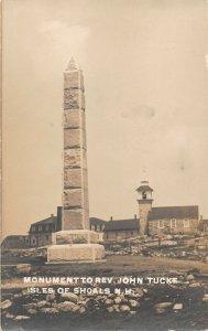 LPS89 Isles of Shoals New Hampshire Monument of Rev. John Tucke Postcard RPPC