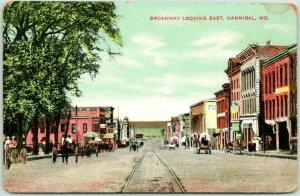 1910s Hannibal, Missouri Postcard Broadway Looking East Downtown Street Scene