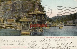 1907 THE BATHING PLACE Mohonk Lake NY Moore & Gibson Co, to Miss Emily Knight