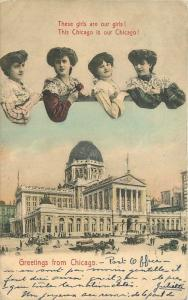 1907 Chicago Illinois four beauties Trolley Scene hand colored Stanek 7801