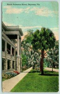 Daytona Florida~North Palmetto Street~Apartments on Left~Beautiful Trees~c1910