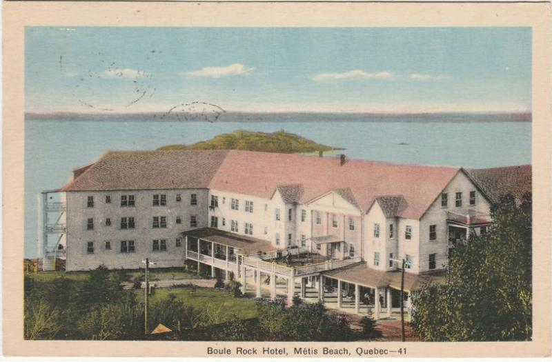 Boule Rock Hotel at Metis Beach QC, Quebec, Canada - pm 1940 - WB