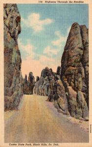 South Dakota Black Hills Custer State Park Highway Through The Needles Curteich