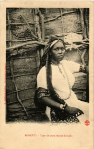 PC CPA DJIBOUTI / SOMALIA, TYPE DE JEUNE FEMME, Vintage Postcard (b13922)