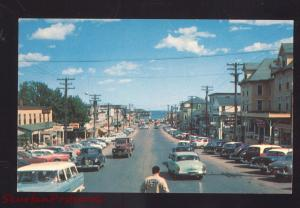 OLD ORCHARD BEACH MAINE DOWNTOWN STREET SCENE 1950's CARS STORES POSTCARD