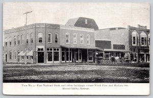 Mound Valley Kansas~North First @ Hickory Street~First National Bank~Cafe~1905