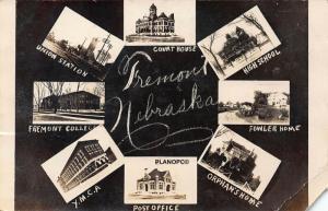 FREMONT, NEBRASKA EIGHT VIEWS, INCL. DEPOT-1911 RPPC REAL PHOTO POSTCARD