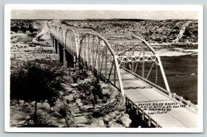 Del Rio Texas~Devil's River Multi Span Truss Bridge~Highway 90~Relocated?~RPPC