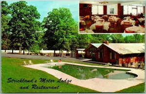 Baltimore, Maryland Postcard STRICKLAND'S MOTOR LODGE & Restaurant Pool View