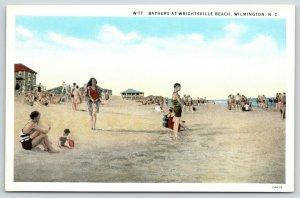 Wilmington North Carolina~Wrightsville Beach Bathers~Baby & Sand Pail~1920s PC