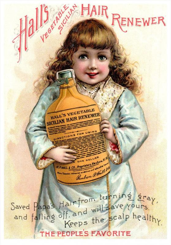 2407  Hall's Vegetable Hair Renewer  2 Trade cards