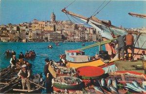 Turkey Postcard Istanbul Fish market Golden horn