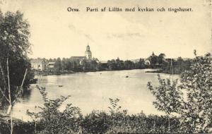 sweden, ORSA, Parti af Lillån med Kyrkan och Tingshuset (1910s)