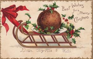 Clapsaddle; CHRISTMAS, 00-10s; Best Wishes, Huge Meatball on a sled, Holly