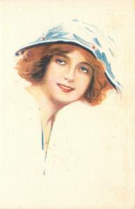 Pretty Redhead~Short Hair~Floppy Hat~Blue Eyes Look Up~Rev Stampa 4284~Artist