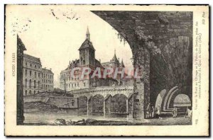 Old Postcard Old Paris View of the bridge and changes the courthouse taken th...