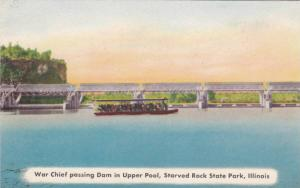 War Chief Passing Dam In Upper Pool, Starved Rock State Park, Illinois, 1900-...
