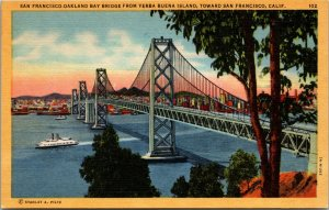 San Francisco Oakland Bay Bridge  from Yerba Island California Linen Postcard